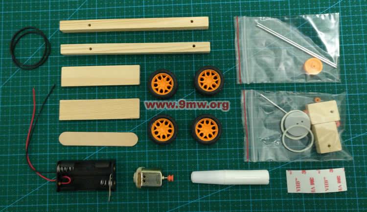 科技小制作:皮带轮传动减速小车